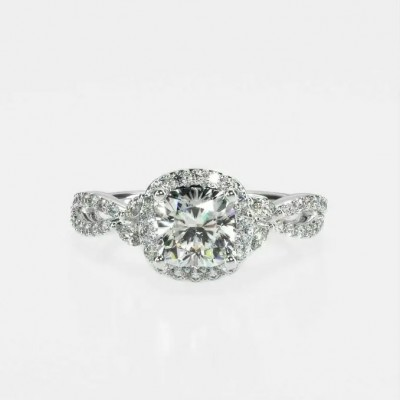 Twisted Cushion Cut White Sapphire 925 Sterling Silver Halo Engagement Ring