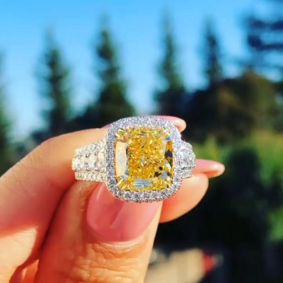 Cushion Cut Yellow Topaz 925 Sterling Silver Halo Engagement Ring