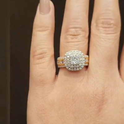 Golden Round Cut White Sapphire Sterling Silver Double Halo Engagement Ring