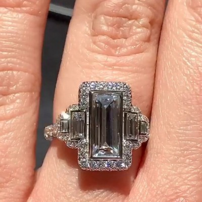 Vintage Baguette Cut White Sapphire Sterling Silver Three-Stone Halo Engagement Ring