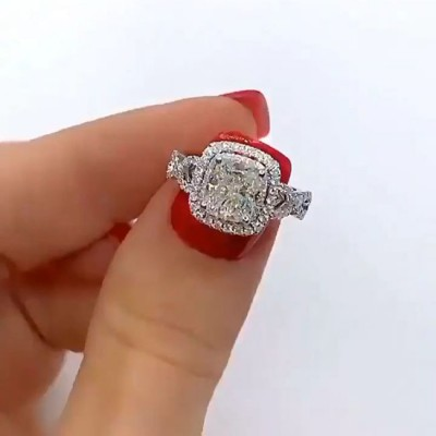 Cushion Cut White Sapphire 925 Sterling Silver Halo Twisted Engagement Ring