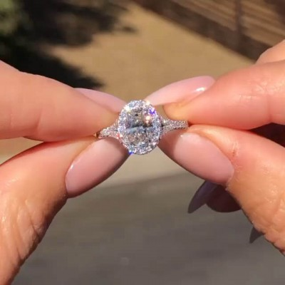 Oval Cut White Sapphire 925 Sterling Silver Split Shank Halo Engagement Ring