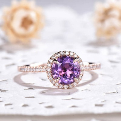 Rose Gold Round Cut Amethyst 925 Sterling Silver Halo Engagement Ring