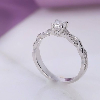 Solitaire Round Cut White Sapphire 925 Sterling Silver Twisted Engagement Ring