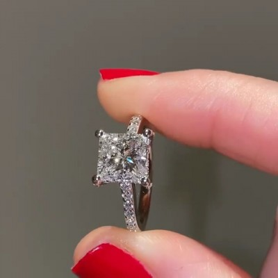 Princess Cut White Sapphire Sterling Silver Engagement Ring