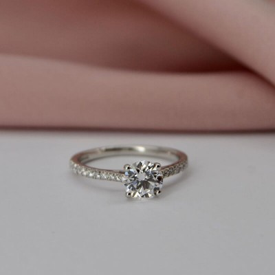 Classic Round Cut White Sapphire 925 Sterling Silver Solitaire Engagement Ring