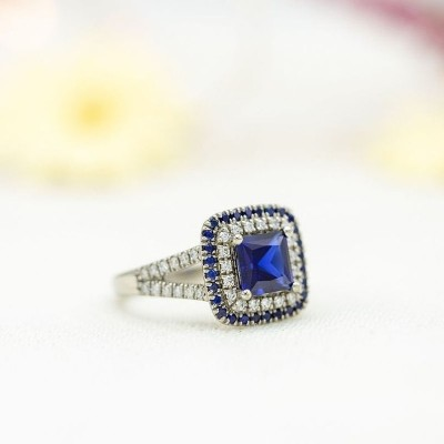 Princess Cut Blue Sapphire Sterling Silver Double Halo Engagement Ring