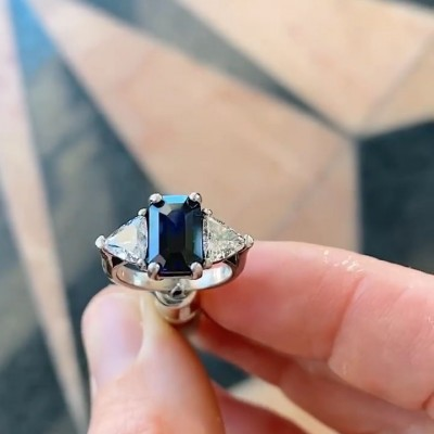 Emerald Cut Blue Sapphire 925 Sterling Silver Three Stone Engagement Ring