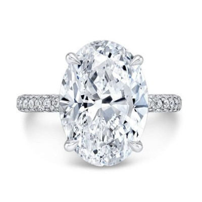 Classic Oval Cut White Sapphire 925 Sterling Silver Solitaire Engagement Ring