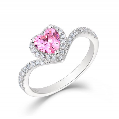 Heart Cut Pink Sapphire Sterling Silver Halo Engagement Ring