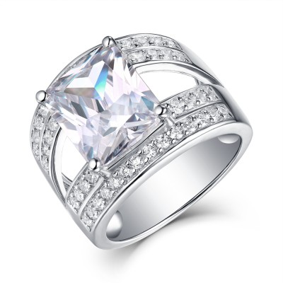 Radiant Cut White Sapphire 925 Sterling Silver Engagement Ring