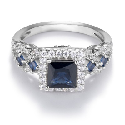 Princess Cut Blue Sapphire Sterling Silver Halo Engagement Ring