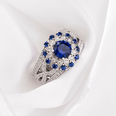 Round Cut Blue Sapphire 925 Sterling Silver Sunflower Halo Engagement Ring