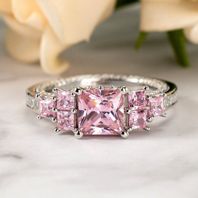 Princess Cut Pink Sapphire 925 Sterling Silver 3-Stone Engagement Ring