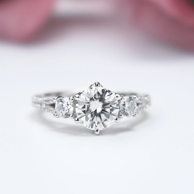 Round Cut White Sapphire Sterling Silver 3-Stone Engagement Ring