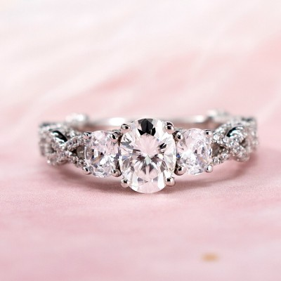 Oval Cut White Sapphire 925 Sterling Silver Twisted Three Stone Engagement Ring