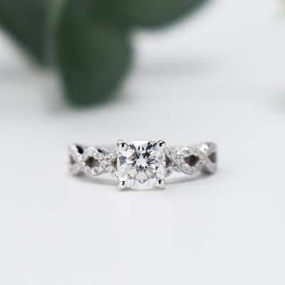 Twisted Cushion Cut White Sapphire 925 Sterling Silver Engagement Ring