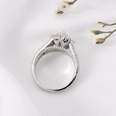 Marquise Cut White Sapphire 925 Sterling Silver Double Halo Engagement Ring