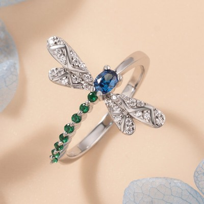 Beautiful Blue Sapphire & Emerald 925 Sterling Silver Dragonfly Ring