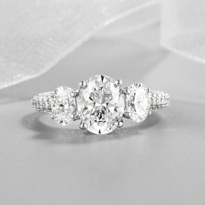 Oval Cut White Sapphire 925 Sterling Silver Pave Three Stone Engagement Ring
