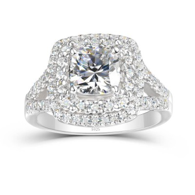 Cushion Cut White Sapphire 925 Sterling Silver Double Halo Engagement Ring
