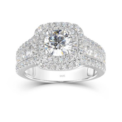 Round Cut White Sapphire Sterling Silver Double Halo Engagement Ring