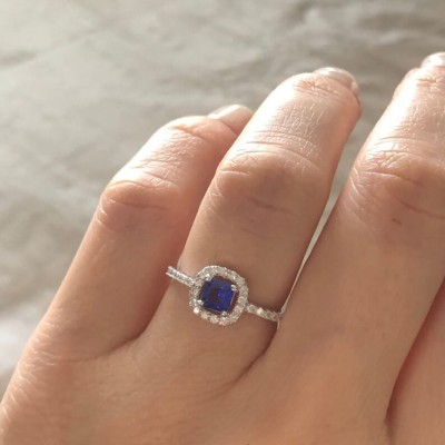 Princess Cut Blue Sapphire 925 Sterling Silver Engagement Ring