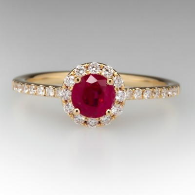 Gold Round Cut Ruby Sapphire 925 Sterling Silver Halo Engagement Ring