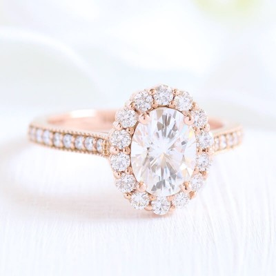 Rose Gold Oval Cut White Sapphire Sterling 925 Silver Classic Halo Engagement Ring