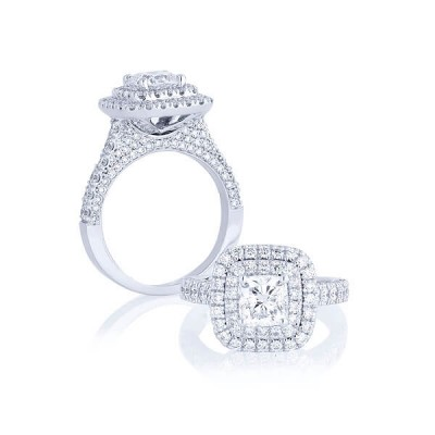 Princess Cut White Sapphire 925 Sterling Silver Halo Engagement Ring