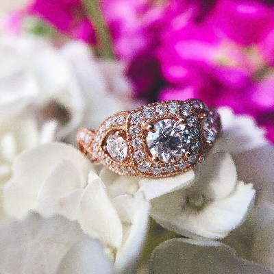 Rose Gold Round Cut White Sapphire 925 Sterling Silver Three-Stone Engagement Ring