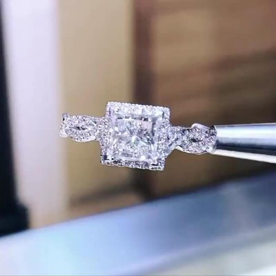 Princess Cut White Sapphire 925 Sterling Silver Twisted Halo Engagement Ring