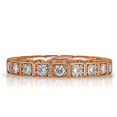 Rose Gold Round Cut White Sapphire 925 Sterling Silver Eternity Band