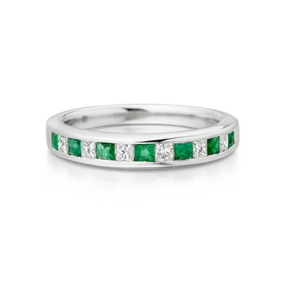 Princess Cut Emerald and White Sapphire 925 Sterling Silver Women's Wedding Band