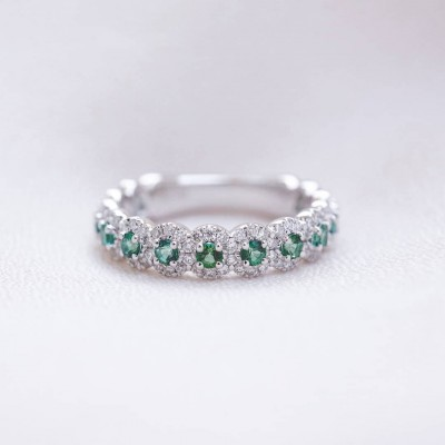 Round Cut Emerald 925 Sterling Silver Women's Wedding Band