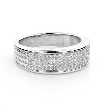 Round Cut White Sapphire Sterling Silver Pave Men's Wedding Band
