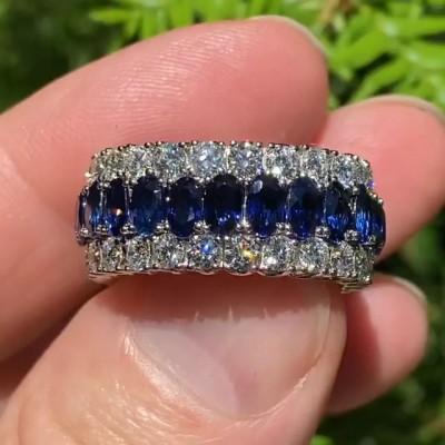 Eternity Oval Cut Blue Sapphire Sterling Silver Triple Row Women's Wedding Band