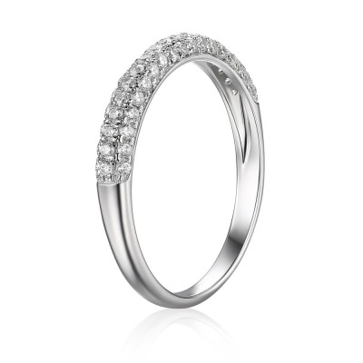 Classic Round Cut White Sapphire 925 Sterling Silver Engagement Ring