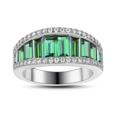 Emerald 925 Sterling Silver Women's Wedding Bands
