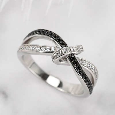 Round Cut Black & White Sapphire Infinity Love Knot Ring for Her