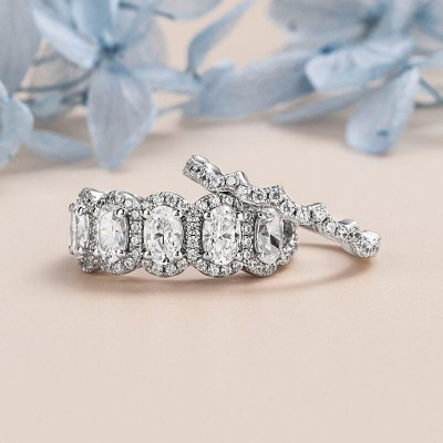 Oval Cut White Sapphire 925 Sterling Silver Half Eternity Wedding Band Sets