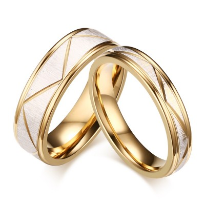 Elegent Gold Titanium Steel Promise Ring for Couples