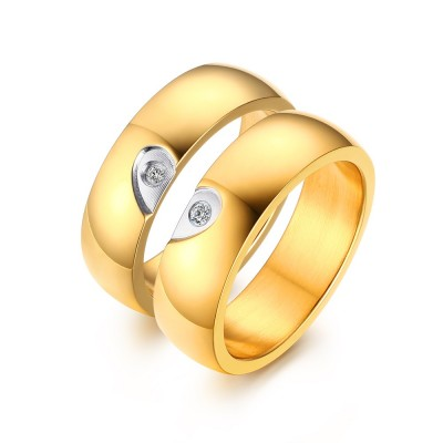 Elegent Heart Design Gold Titanium Steel Gemstone Promise Ring for Couples