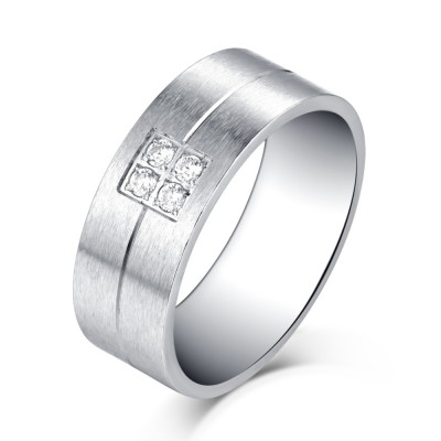 Simple Design Silver Titanium Steel Gemstone Men's Ring