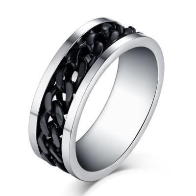 Black Chain Design Silver Titanium Steel Men's Ring