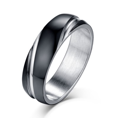Black and Silver Titanium Steel Men's Ring