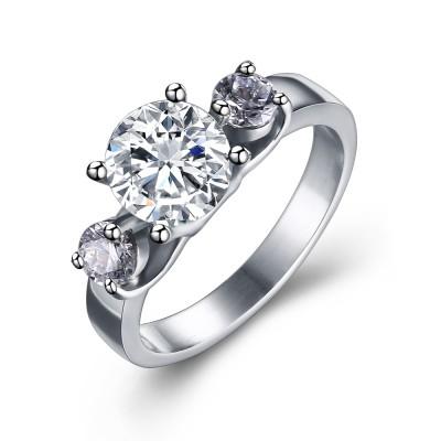 Round Cut Gemstone Silver Titanium Steel Women's Engagement Ring