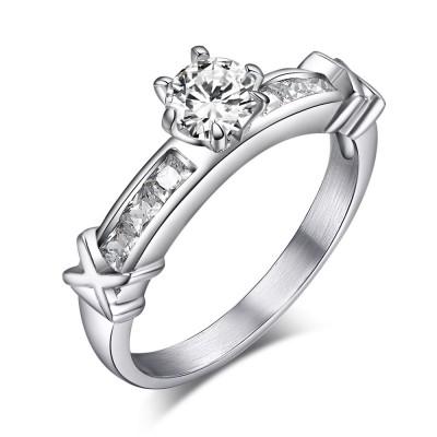 Round Cut Gemstone Titanium Steel Women's Engagement Ring
