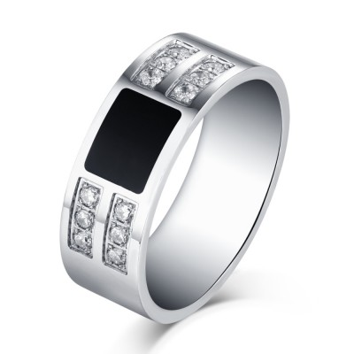 Round Cut White Sapphire Black and Silver Titanium Steel Men's Ring
