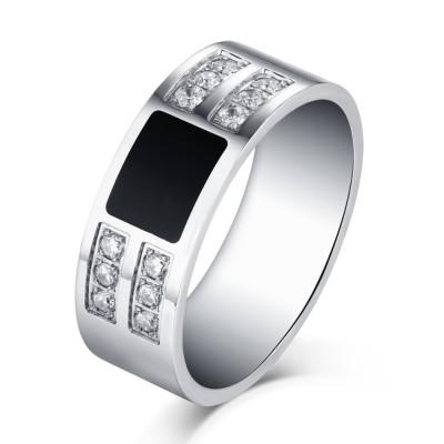 Round Cut White Sapphire Black and Silver Titanium Steel Men's Ring